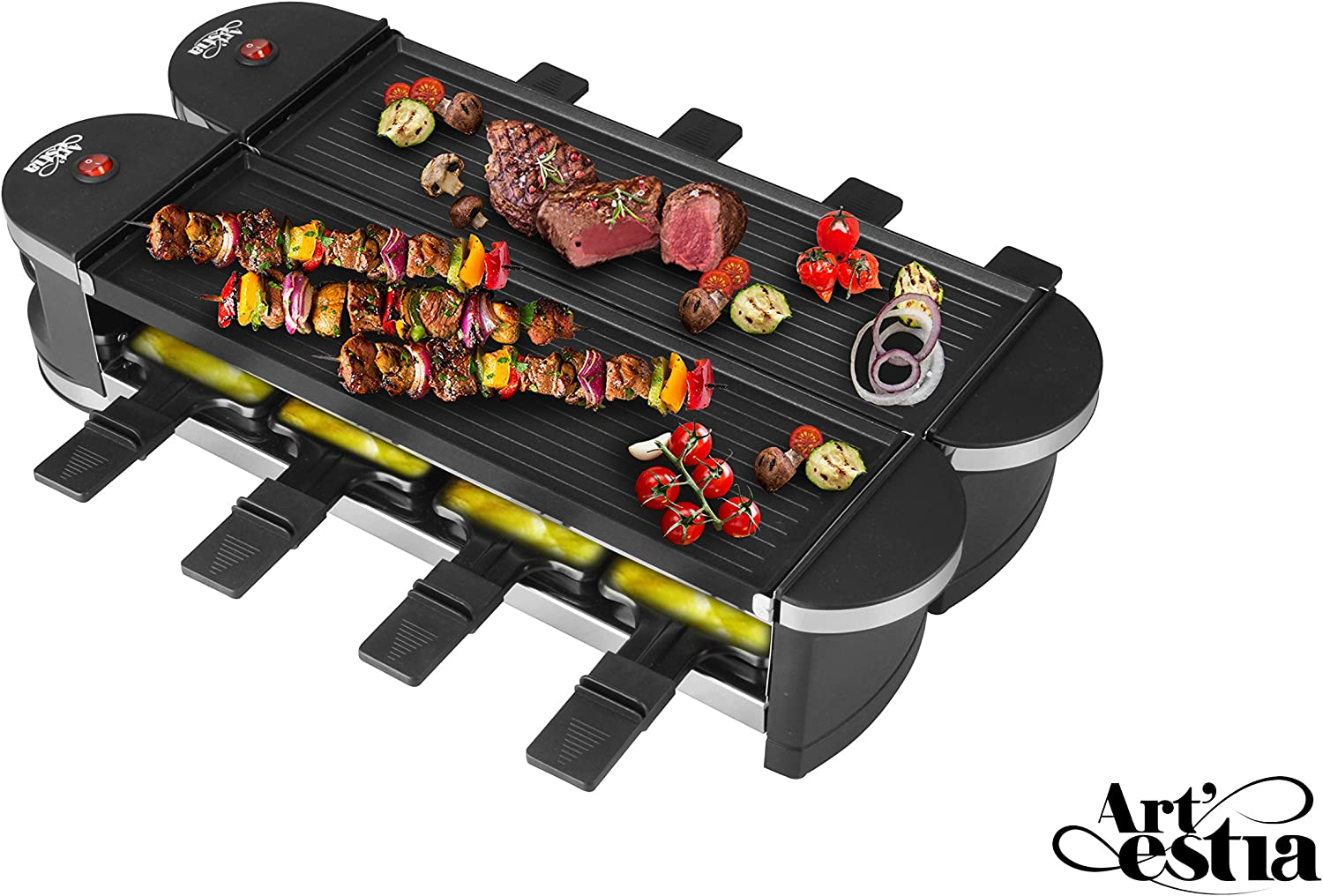 Artestia Electric Dual Raclette Grill with Cast Aluminum Reversible Grill Plate, Easy Setup in 360 Rotation, Serve the whole family Reversible Aluminum Grill Plate