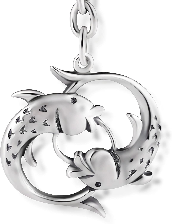 STERLL Llavero para hombre signo zodiacal Piscis, de plata 925 oxidada, ideal como regalo de hombre, con una bolsa