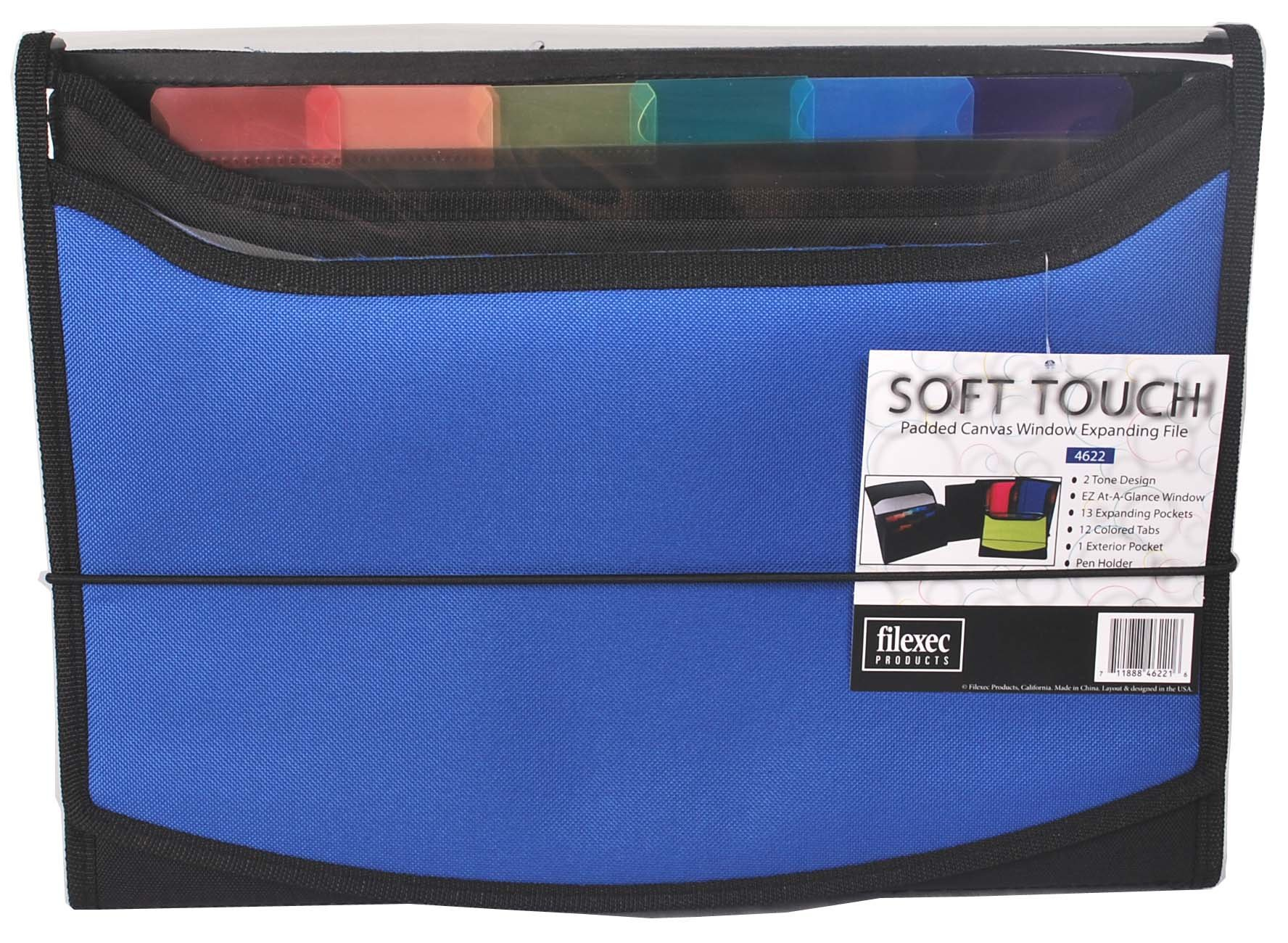 Filexec Soft Touch Padded Canvas Window Expanding File, 13 Pockets, 1 Pack, Blue (46221-6)