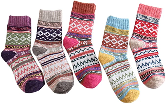 8ee9c9f6bc765 Women 5 Pairs Super Thick Knit Winter Wool Cashmere Thick Warm Soft Casual  Socks, One