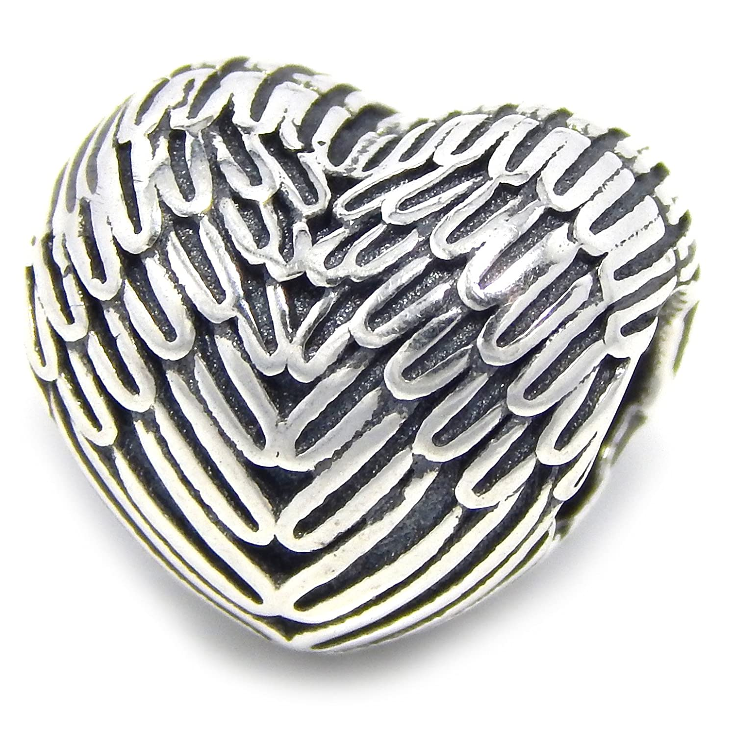 ICYROSE Solid 925 Sterling Silver Heart with Wing Design Charm Bead 411 for European Snake Chain Bracelets