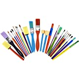 Artlicious Paint Brush Set - Pack of 25, Assorted Variety, All-Purpose Paint Brushes for Kids - Use with Craft, Watercolor &