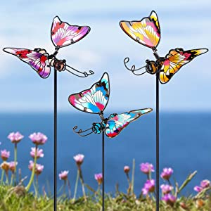 Juegoal Set of 3 Butterfly Garden Stake Decor, 20 Inch Colorful Butterflies Stakes, Glass & Metal Weather Resistant Yard Art Ornaments, Indoor Outdoor Lawn Pathway Patio Plant Pot, Flower Bed