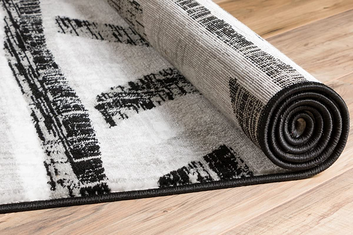"Bright Moon Grey Southwestern Modern Tribal Lines 2 x 7 (23"" x 73"" Runner ) Area Rug Easy Clean Stain Fade Resistant Shed Free Contemporary Thick Soft Plush Living Room Rug"