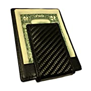Carbon Fiber Wallet RFID blocker with Leather and Magnetic Money Clip