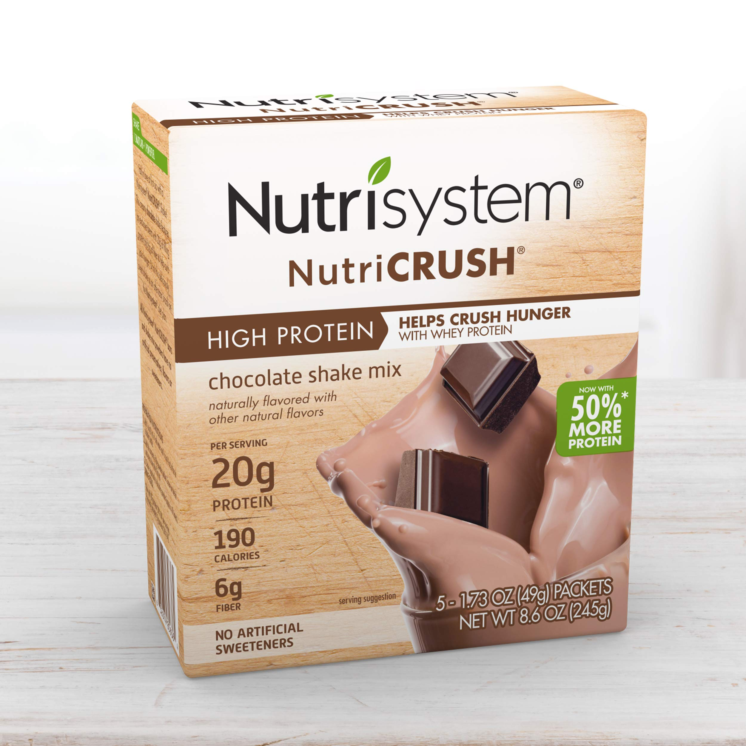 Nutrisystem® NutriCRUSH® Shake Mix - Chocolate, 20g Protein (20 ct Case) - On The Go Protein Shakes to Support Healthy Weight Loss by Nutrisystem