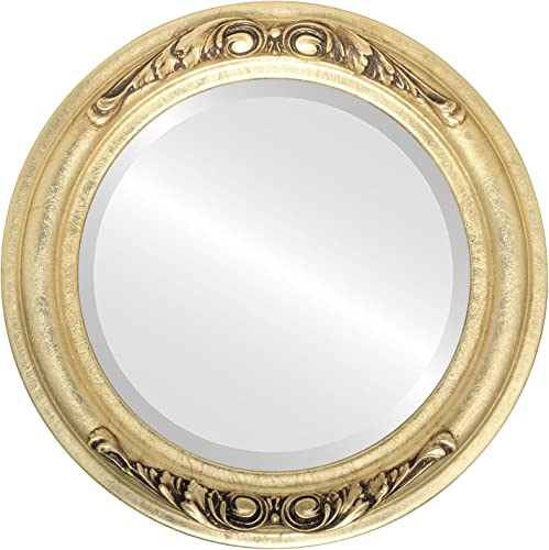 Round Beveled Wall Mirror for Home Decor – Florence Style – Gold Leaf – 34×34 Outside Dimensions