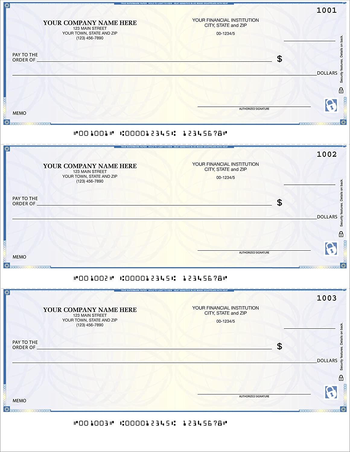3//Page Compatible with QuickBooks Quicken 250 qty - Custom CheckSimple Laser Business Checks High Security