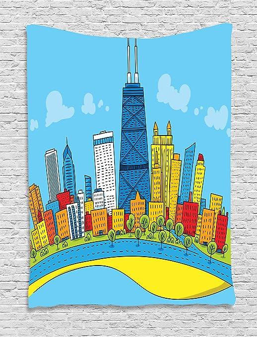 ABAKUHAUS Horizonte De Chicago Tapiz de Pared, De Dibujos Animados ...