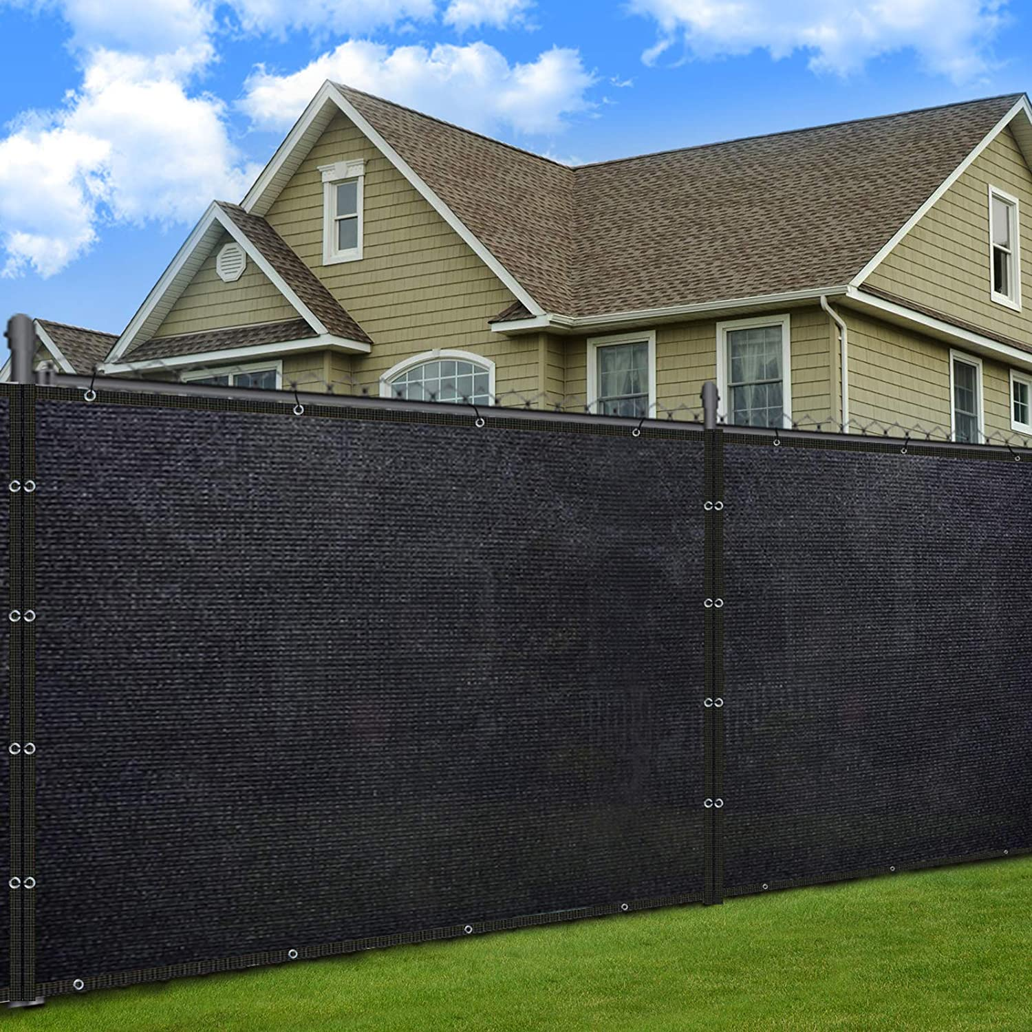 SUNLAX Fence Privacy Screen, 5'x50' Windscreen Black Fencing Commericial Mesh Tarp Net Cover for Outdoor Patio Yard