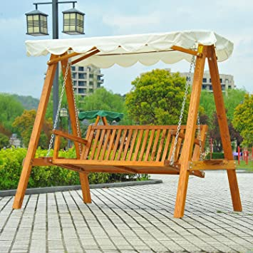 Outsunny 3 Seater Wooden Wood Garden Swing Chair Seat Hammock Bench  Furniture Lounger Bed New(