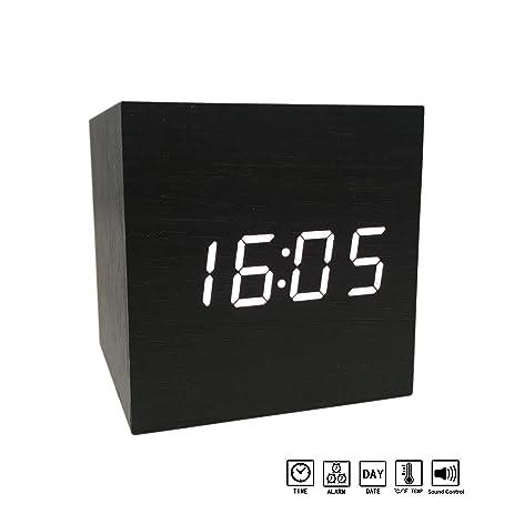 Digital Alarm Clock Modern LED Light Wooden Cube Displays Date Temperature  For Travel Desk Bedroom