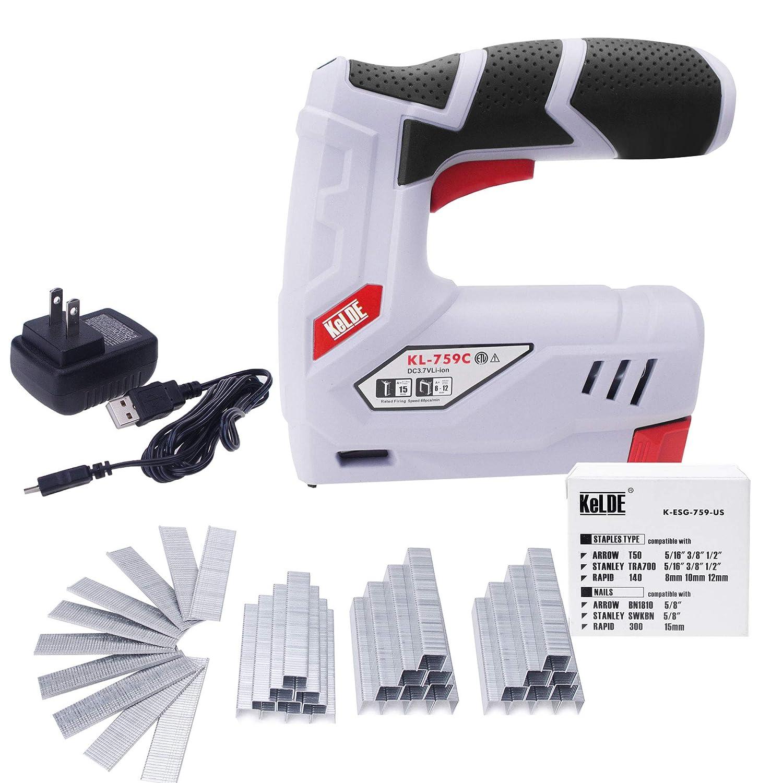 Cordless Staple Gun Kit, KeLDE Electric USB Rechargeable Stapler/Nailer, 2000mAh 3.7V Li-ion Battery, Includes 1500pc T50 Staples and 500pc 15mm Brad Nails