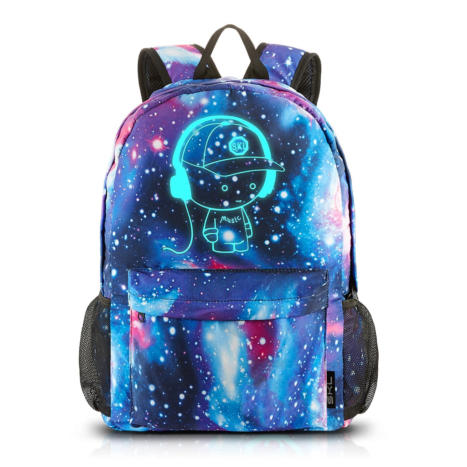Galaxy School Backpack,Cool Unisex Canvas Backpack Anime Luminous Backpack Daypack Shoulder School Bag Laptop Bag (Blue) CB-0829