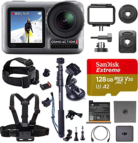 DJI OSMO Action Ultimate Bundle Dual Touch Display Waterproof Digital Action Camera with 4K HD Video 12MP Photos Live Streaming Stabilization Premium Accessories and 128 GB Memory Card Included