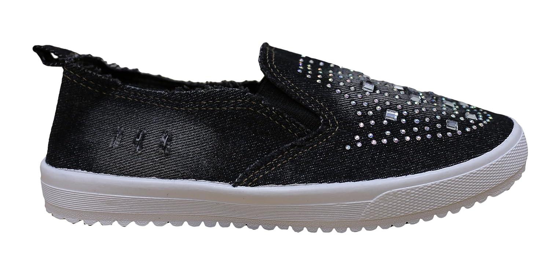S-3 Women's Rhinestone Denim Slip On Fashion Sneaker B073DM12WS 7 B(M) US|Black