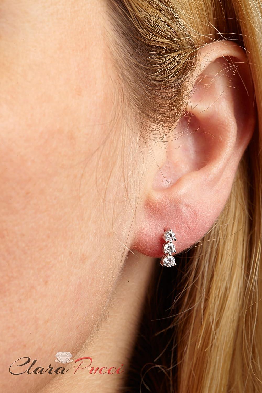 Clara Pucci 0.45 CT 3-STONE BRILLIANT ROUND CUT EARRINGS 14K White GOLD Past Present Future