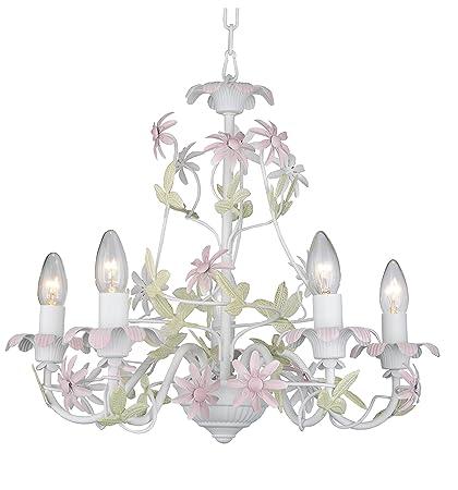Firefly kids lighting emily 5 arm chandelier in pink 5 light e12 60w