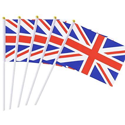 50 Pack Hand Held British Flag United Kingdom Uk Flag Stick Flag Round Top National Country Flags Party Decorations Supplies For Parades World