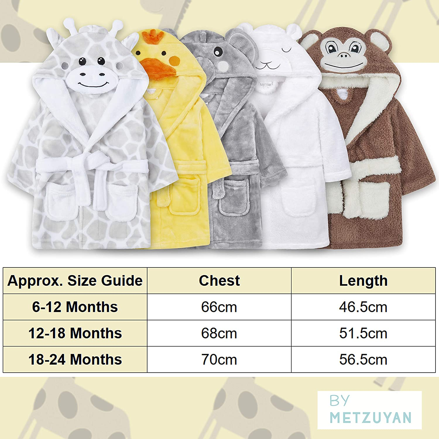 Metzuyan Baby Girls /& Boys Animal Themed Plush Fleece Unisex Dressing Gown Robe