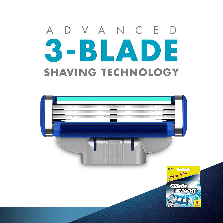 Gillette Mach 3 Turbo Recambio Maquinilla de Afeitar - 4 Unidades: Amazon.es: Belleza
