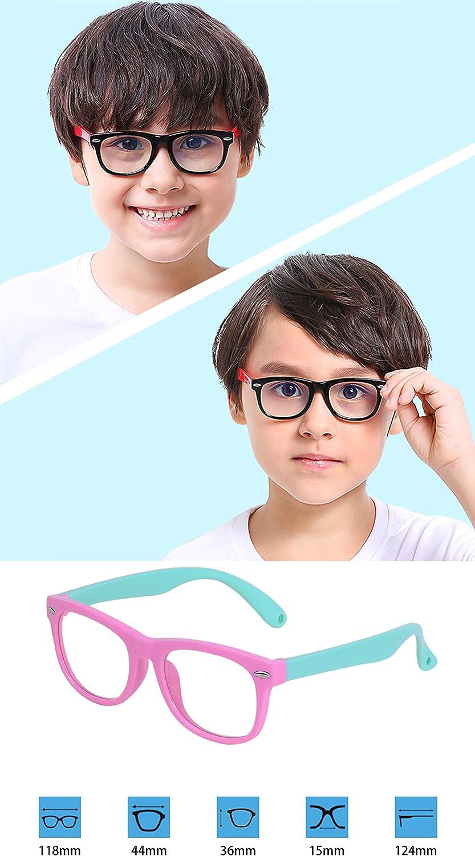 Case 2-6 years Kids Computer Glasses Block Blue Light Anti-Radiation Anti-UV Anti-Fatigue for Boys /& Girls