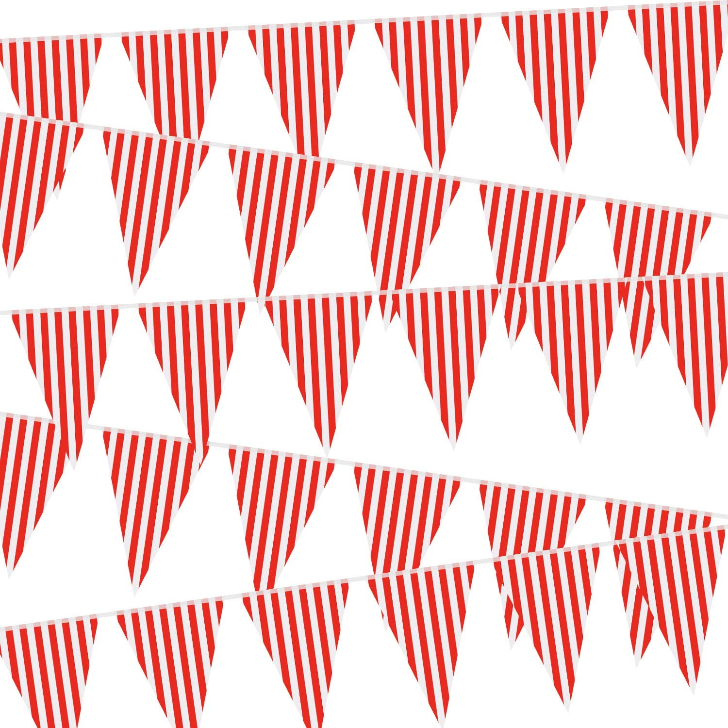 5 Packs Carnival Circus Party Decorations Supplies, Circus Carnival Bunting Banner, Red and White Pennant Banner Triangle Bunting Flag for Carnival Birthday Party, 7.4 x 10.8 Inch