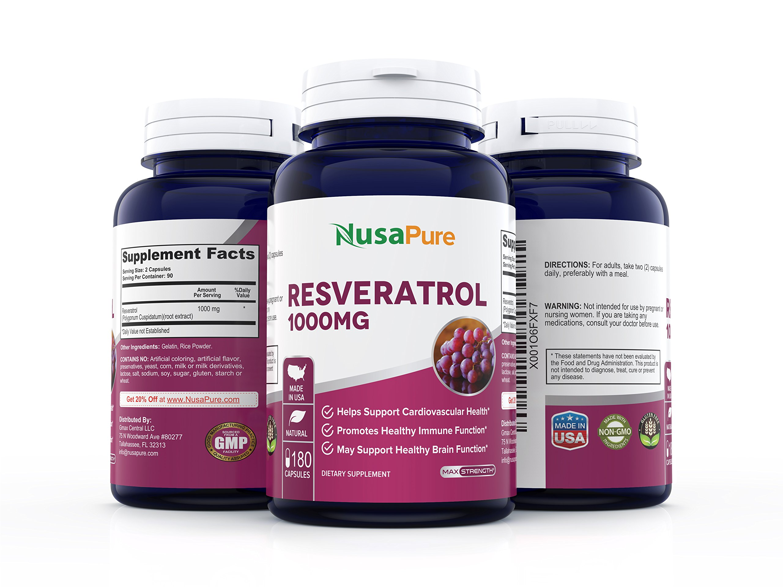 Best Resveratrol 1000mg 180caps (Non-GMO & Gluten Free) Promotes Heart Health and Balances Blood Pressure, Helps Balance Hormones - Proudly Made in USA - 100% Money Back Guarantee! by NusaPure (Image #3)