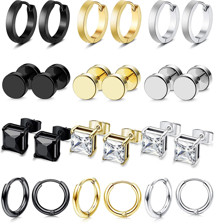 LOLIAS 12 Pairs Stud Earrings Hoop Earrings Set for Men Women CZ Stainless Steel Unisex Ear Piercing Jewelry Hypoallergenic