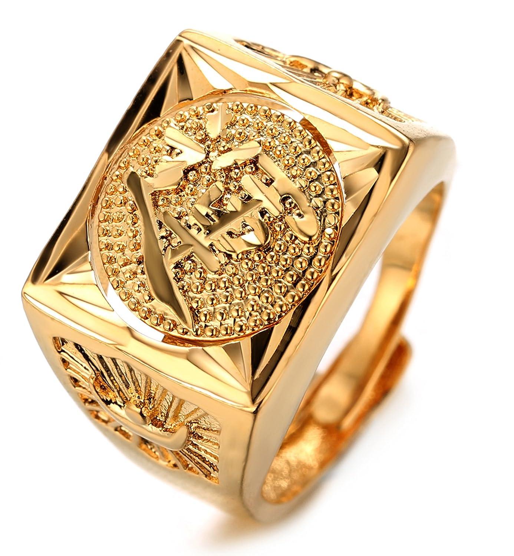 Halukakah Oro Bendiga Todo Hombres Anillo Chapado en 18K Oro Real Rotativo ÉXITO/Bendiga/Rico/Suerte Tamaño Ajustable con CajaDeRegaloGRATIS HALUKAKAHJWEU1065-U