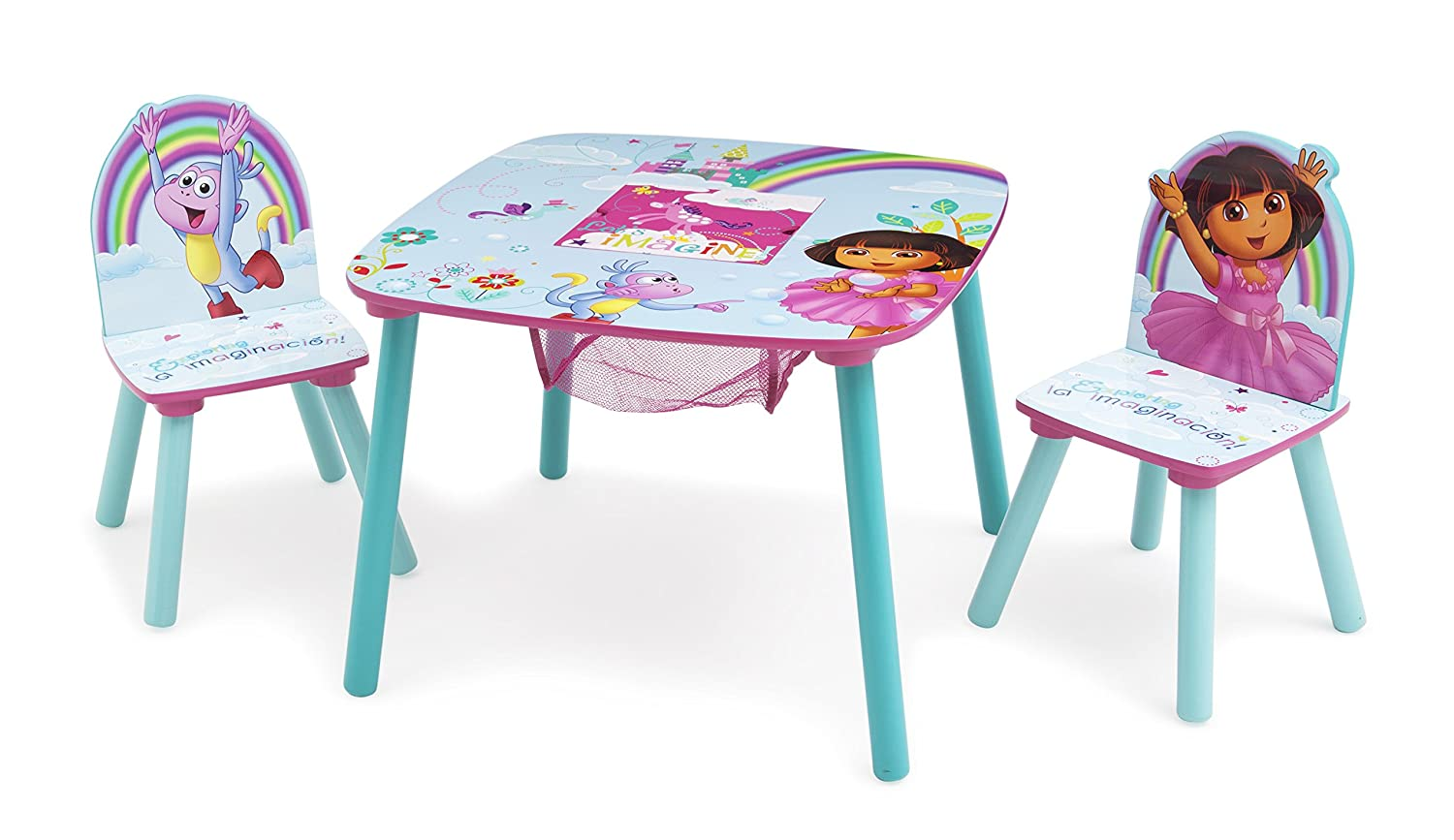 Homeschooling Snack Time - Ideal for Arts /& Crafts Nick Jr 2 Chairs Included Homework /& More Dora the Explorer Delta Children Kids Table and Chair Set With Storage