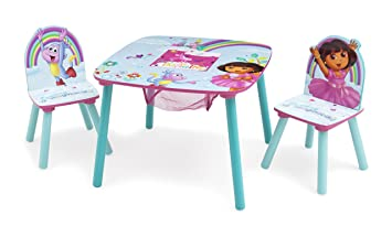 Delta Children Table and Chair Set With Storage Dora the Explorer  sc 1 st  Amazon.com : dora table and chair set - pezcame.com