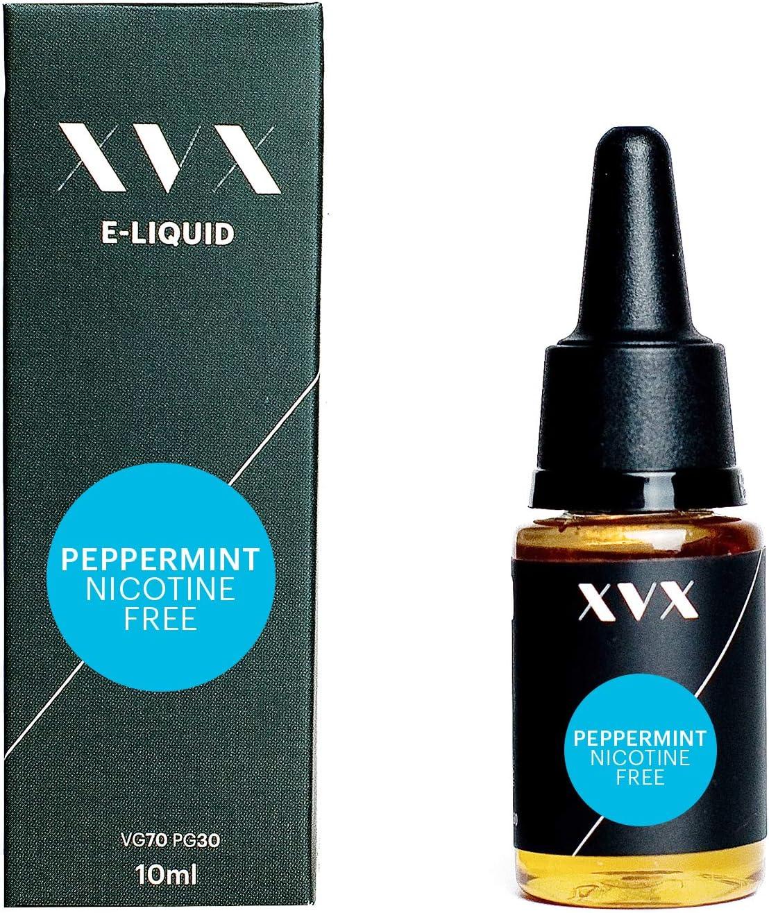 XVX E Liquid Peppermint Flavour Electronic Liquid For Vape Pen Cigarettes E Cigarette Shisha Vapouriser Liquid 10ml Nicotine Free Bottle Needle Tip Ecig E Cig