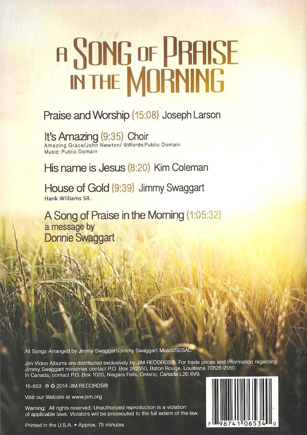Jimmy Swaggart - A Song of Praise In the Morning - Amazon com Music