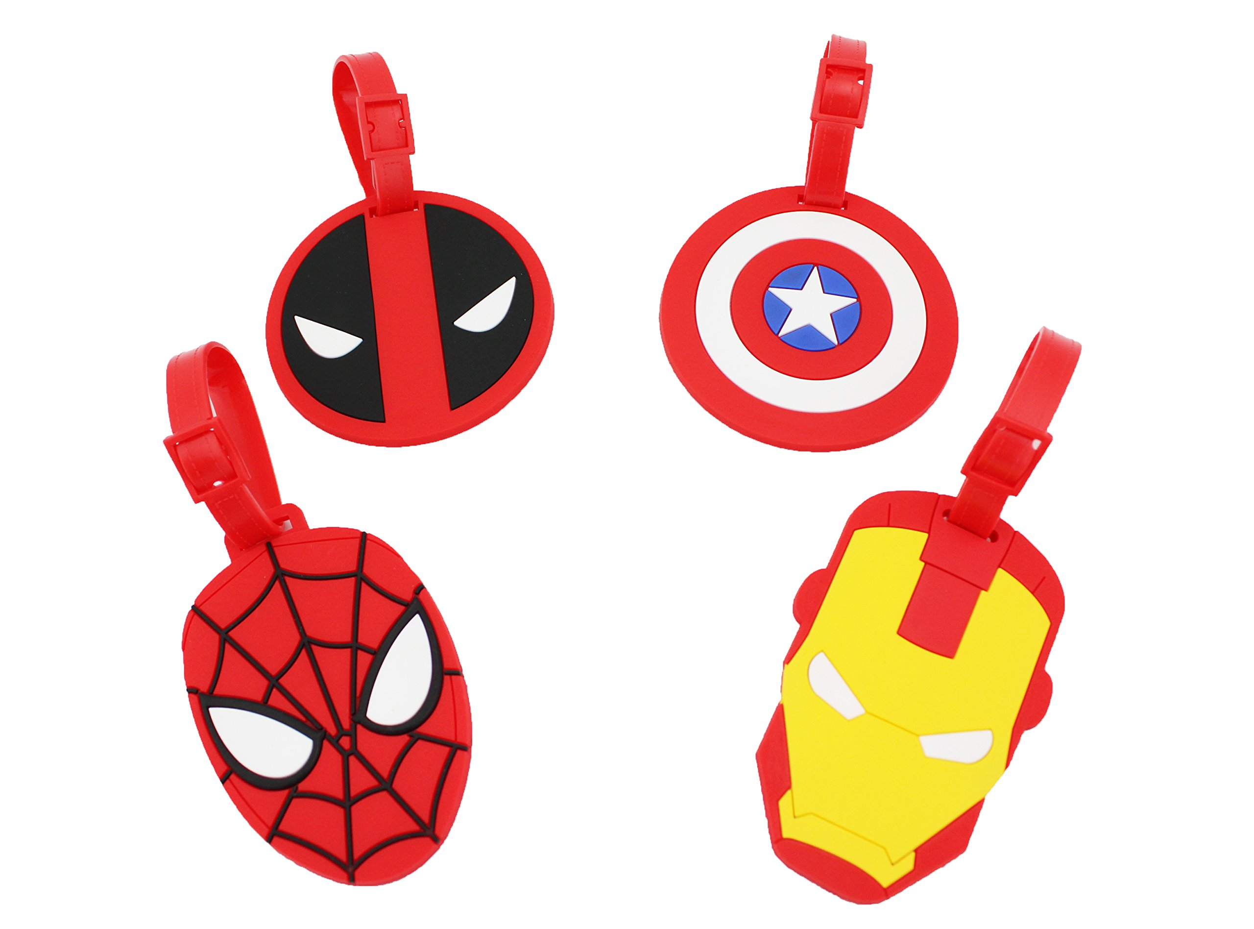 Finex Set of 4 Avengers Deadpool Travel Luggage ID Tag for Bags Suitcases