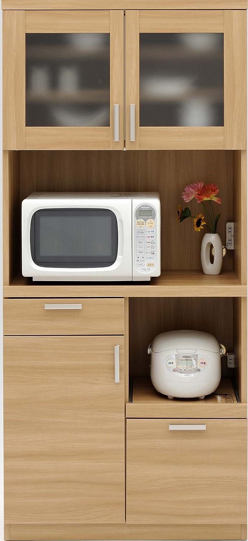 ルーナ キッチンボード 80K ナチュラル【幅80.3×高さ180cm】 B00R5D2Y86  ナチュラル