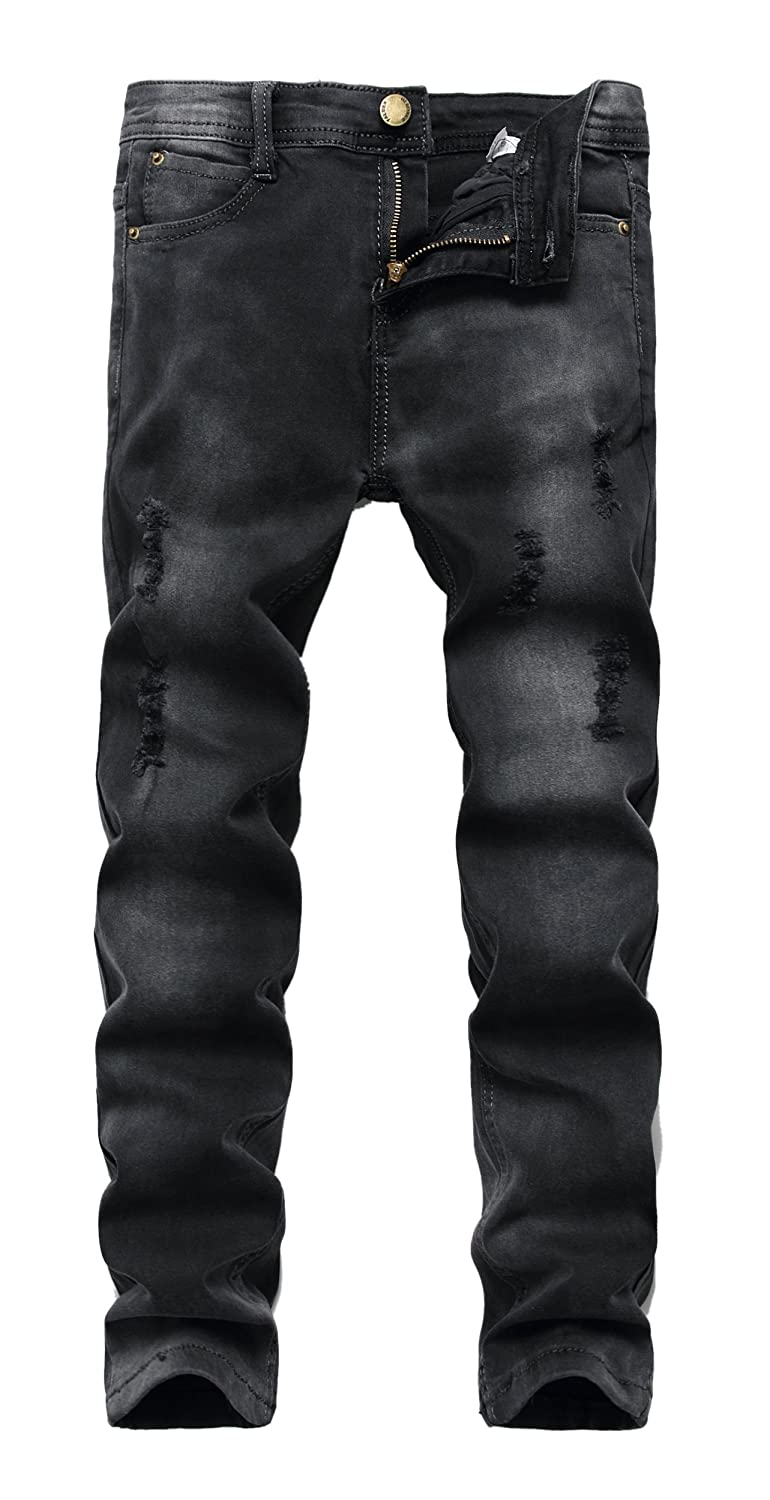 FREDD MARSHALL Boy's Black Skinny Ripped Destroyed Distressed Stretch Slim Fit Denim Jeans Pant