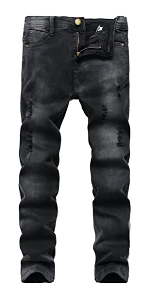 FREDD MARSHALL Boys Black Skinny Ripped Destroyed Distressed Stretch Slim Fit Denim Jeans Pant