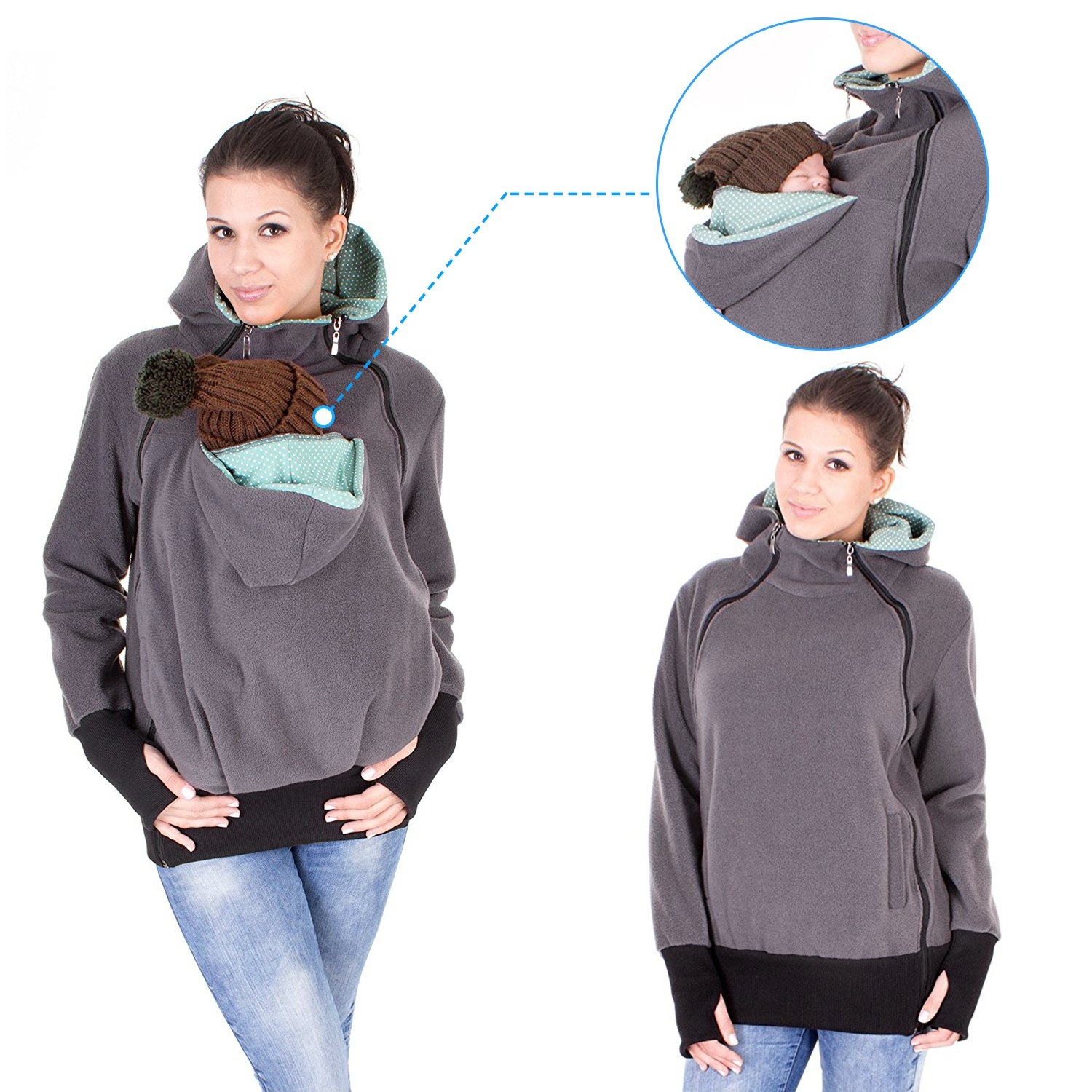NeuFashion Exclusive Double Thick Real Baby Carrier Hoodie Jacket Coat, Dark Grey, X-Large by NeuFashion (Image #1)