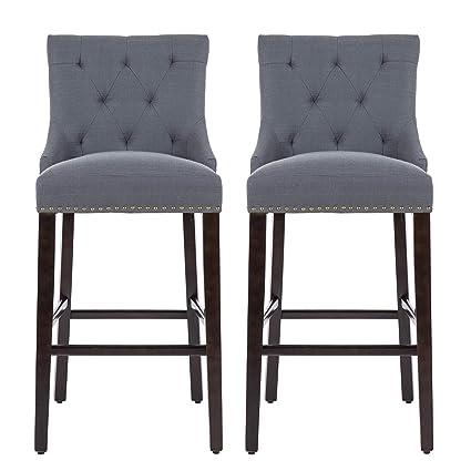 Amazoncom Nobpeint 30 Inch Barstools With Polished Nailhead Wood