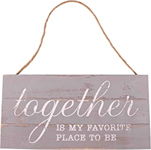 GSM Brands Together is My Favorite Place to Be 13.75 x 6.9 Wood Plank Design Hanging Sign