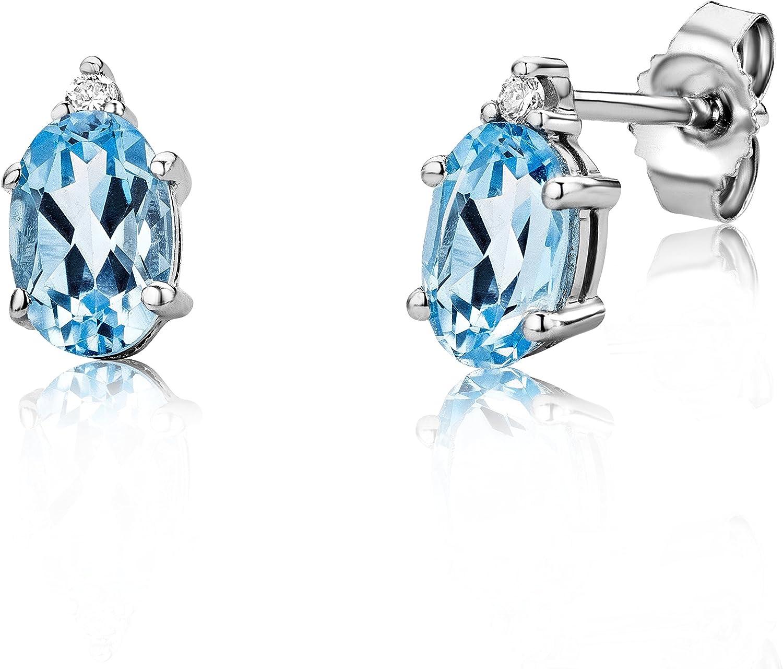 Miore - Pendientes de mujer de oro blanco (9k) con 4 diamantes