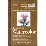"Strathmore 298-103 400 Series Watercolor Pad, 5.5""x8.5"" Tape Bound, 12 Sheets"