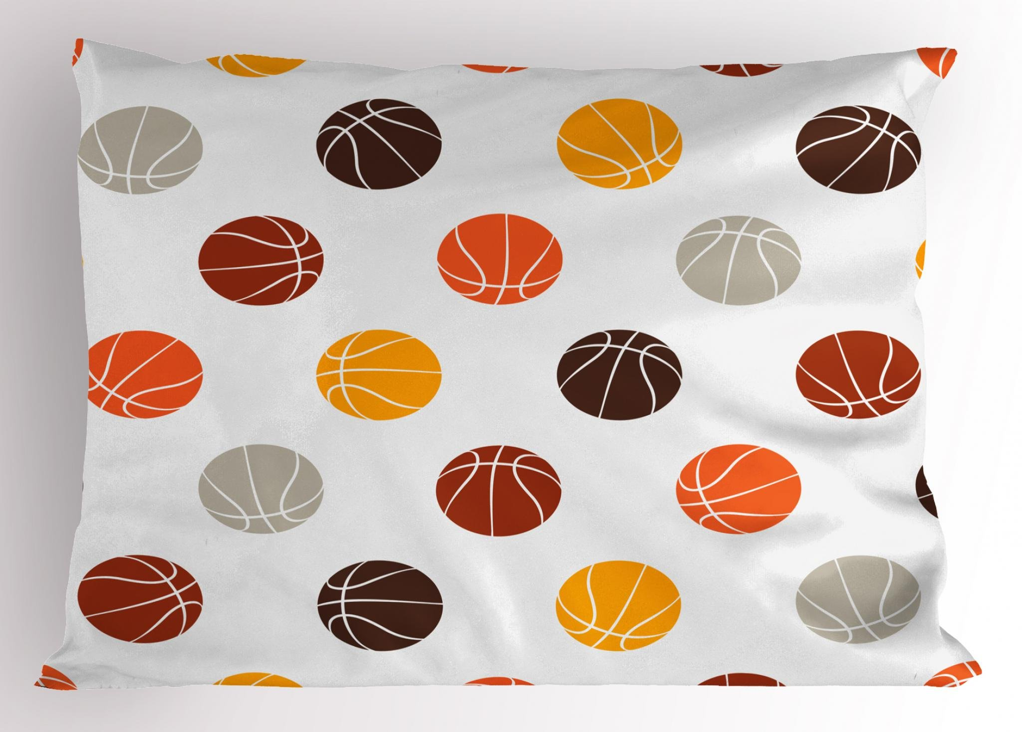 Ambesonne Basketball Pillow Sham, Ball Pattern in Earthen Tones Competition Sports Professional League Game Player, Decorative Standard King Size Printed Pillowcase, 36 X 20 inches, Multicolor
