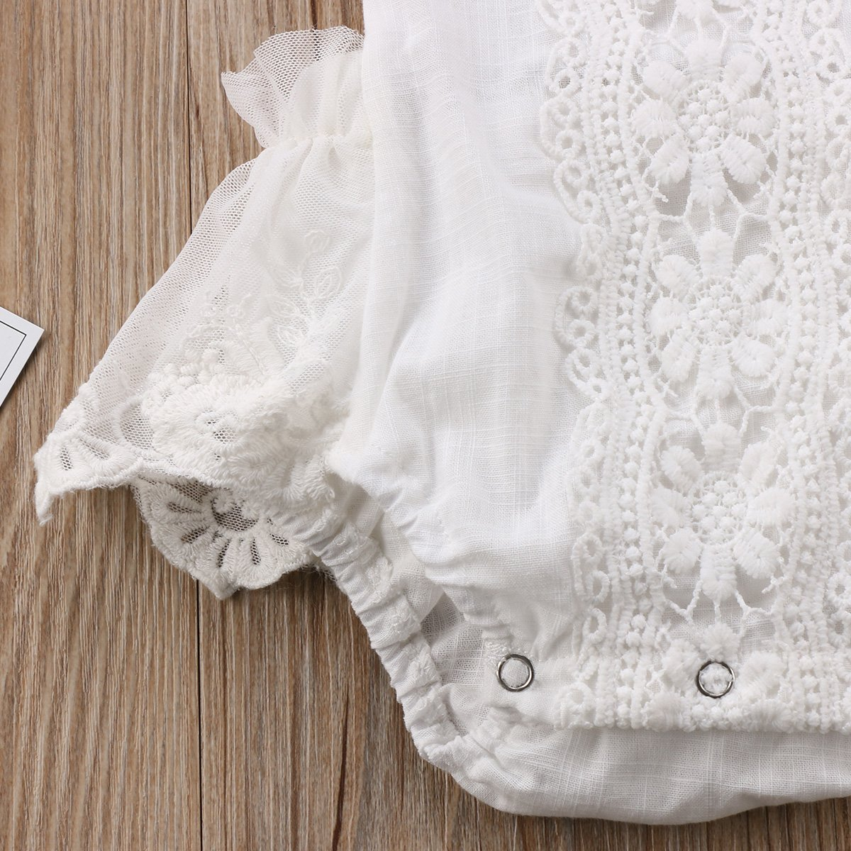 Baby Girl Lace White Embroidered Romper Infant Backless Ruffle Outfit Clothing