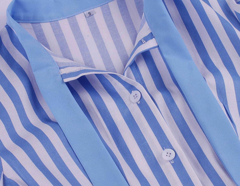 Wellwits Vestido de camisa vintage con estampado de rayas y cuello anudado para mujer