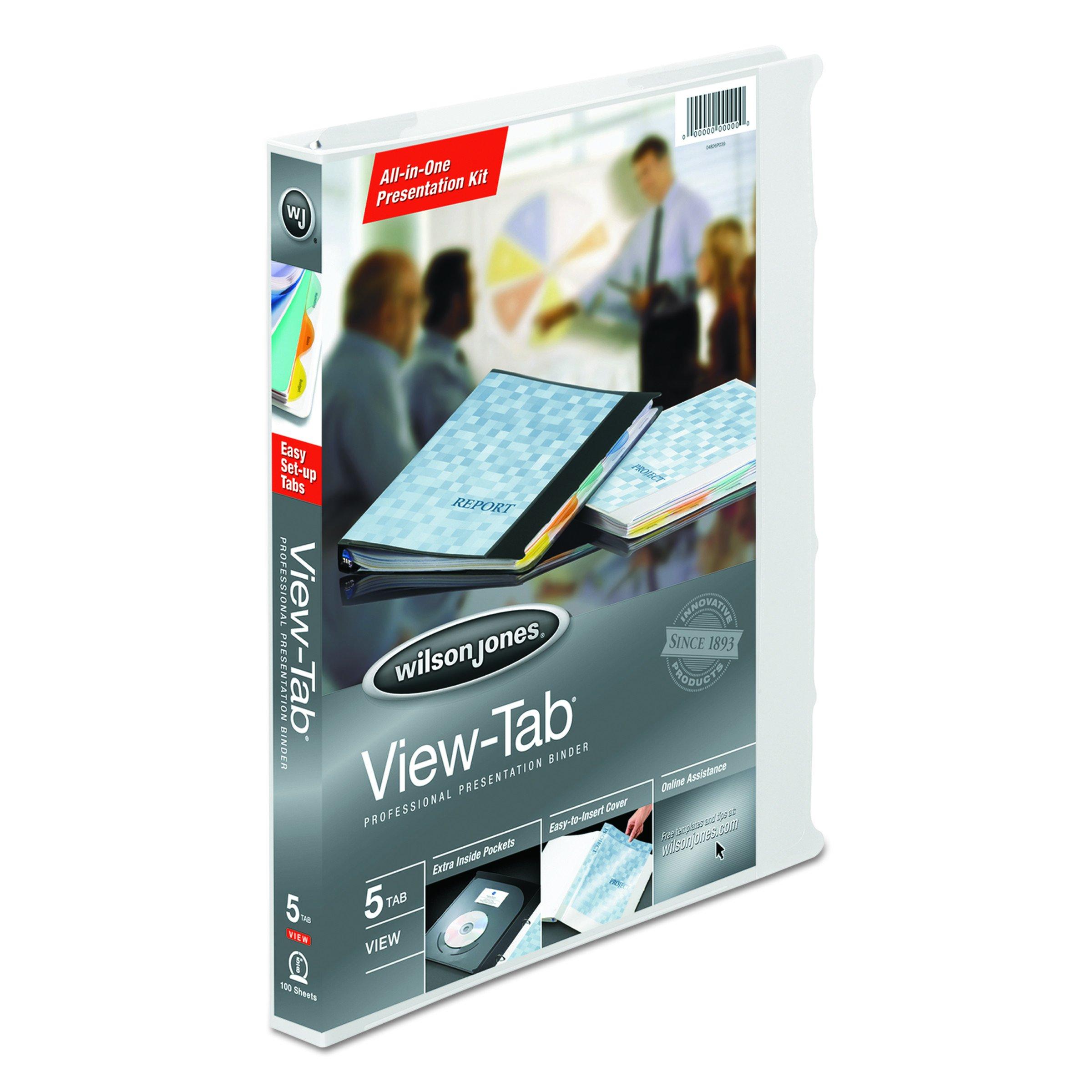 Wilson Jones View-tab Presentation 5-Tab Binder, 5/8'' Capacity, 8.5'' x 11'' Sheet Size, White (W55364)