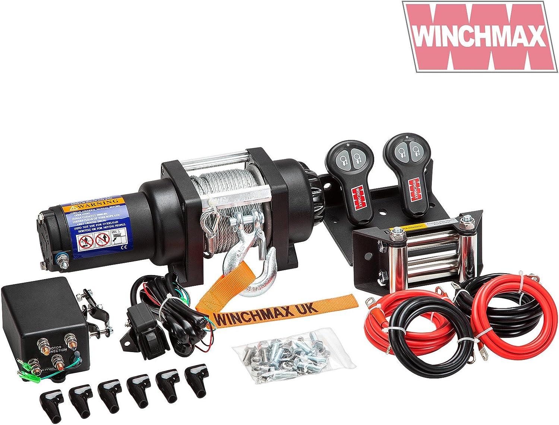 Winchmax - Cabrestante eléctrico de 24 V de grado militar, marina, remolque de barco, control remoto inalámbrico doble.