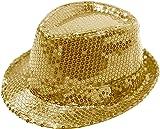 1b88adcdbfd FEDORA TRILBY GANGSTER SEQUIN HAT GLITTERY JAZ UNISEX CAP HIPHOP FANCY  DRESS (GOLD)