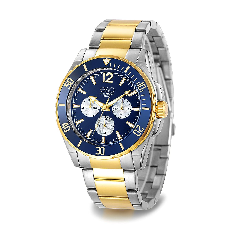 ESQ e241ツートンカラーステンレススチール多機能ブレスレット腕時計とブルーダイヤル B07DCWYQQR